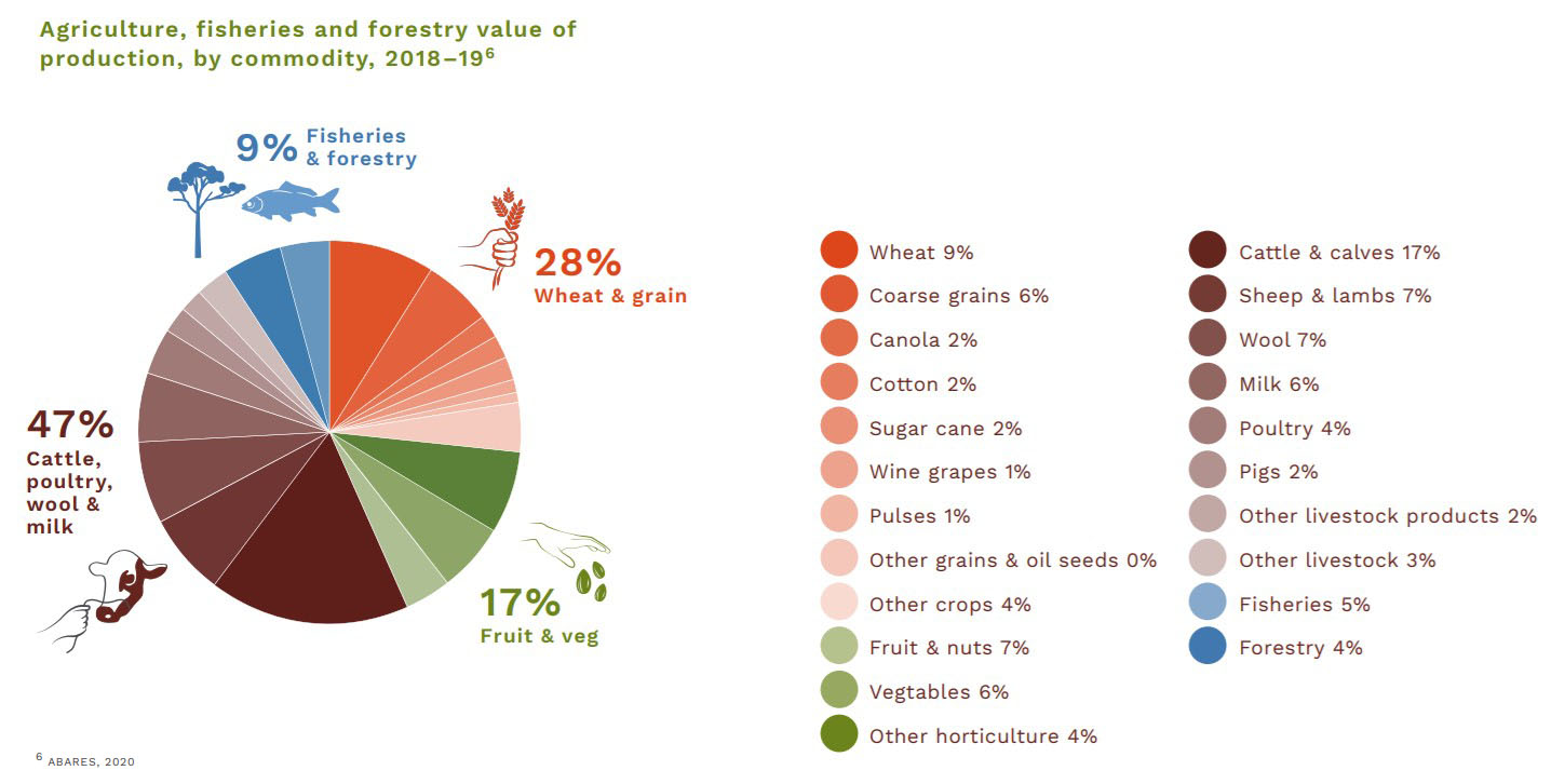 Graph: Agriculture, fisheries and forestry value of production by commodity 2018-19